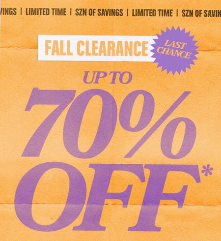 Fall Clearance Up to 70% Off from PacSun