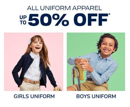 All Uniform Apparel up to 50% Off from The Children's Place