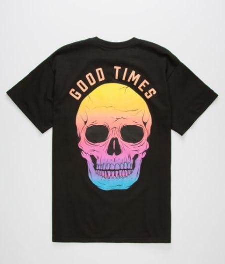 Good Times Faded Skull Mens T-Shirt