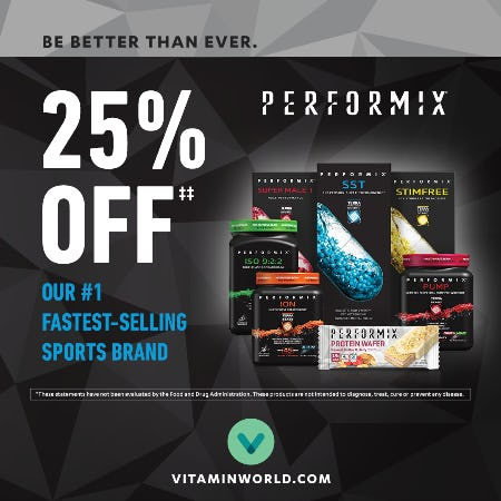 Up to 25% off Performix Products from Vitamin World