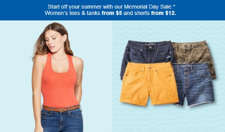Women's Tees & Tanks from $5 and Shorts from $12 from Target