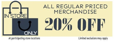 20% Off All Regular Priced Merchandise from Bon Worth