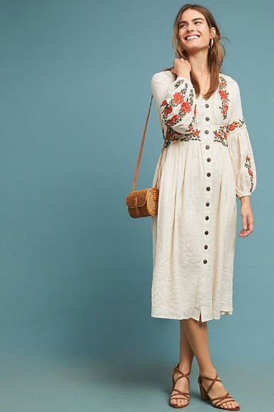Gracie Embroidered Peasant Dress from Anthropologie