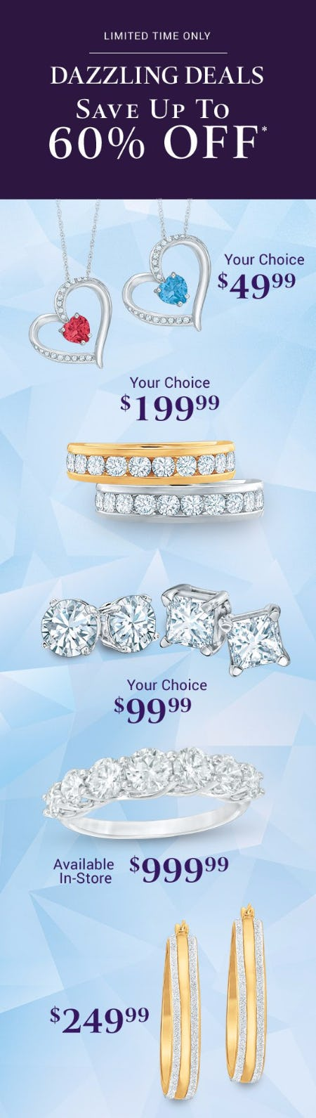 Dazzling Deals up to 60% Off