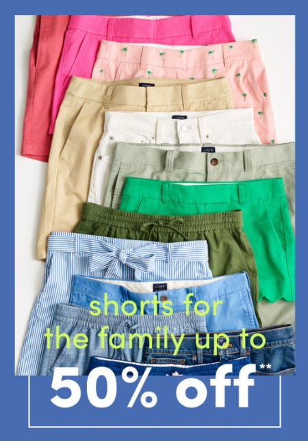 Up to 50% Off on Shorts for the Family from J.Crew Factory