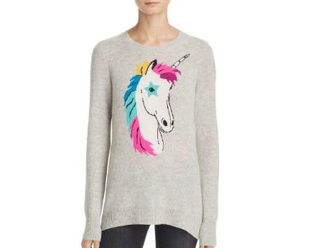 AQUA Cashmere Cashmere Unicorn Intarsia Sweater