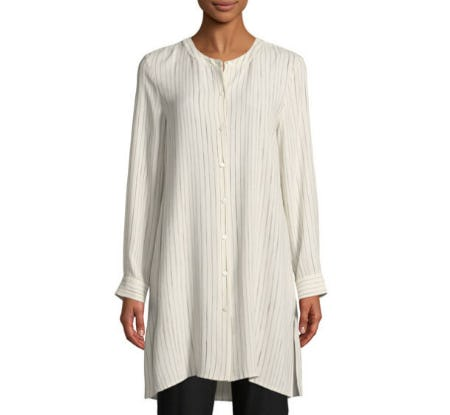 Eileen Fisher Painterly Striped Silk Long Shirt from Neiman Marcus