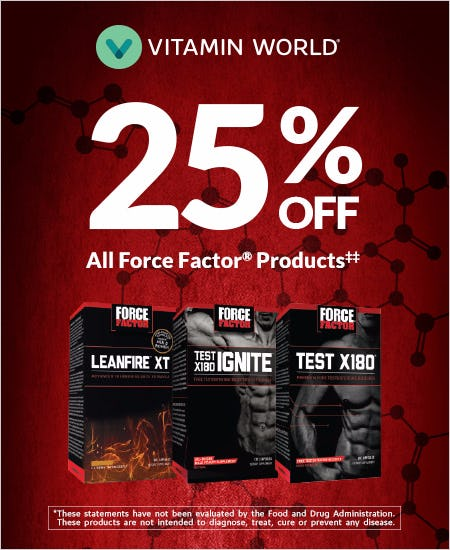 25% off Force Factor Products