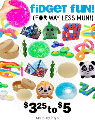 Sensory Toys at $3.25 to $5 from Five Below