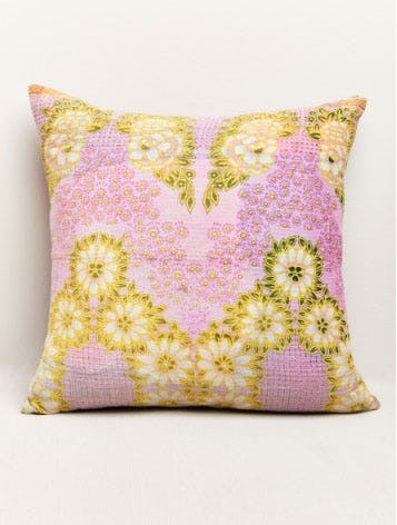 Pink and Yellow Floral Kantha Pillow from Earthbound Trading Company