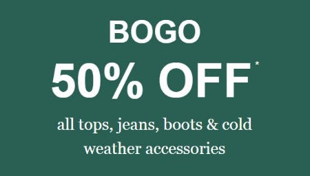 BOGO 50% Off All Tops, Jeans, Boots & Cold Weather Accessories from maurices
