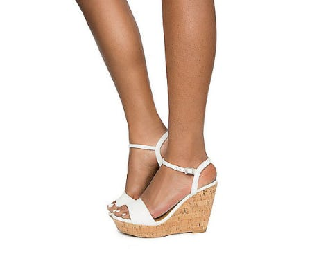 Delicious White Women's Fantasy-S Wedges from Shiekh