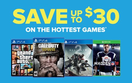 Up to $30 Off Hottest Games from GameStop