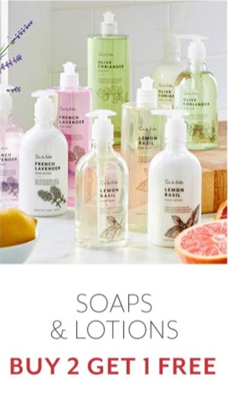 Soaps & Lotions Buy 2 Get 1 Free from Sur La Table