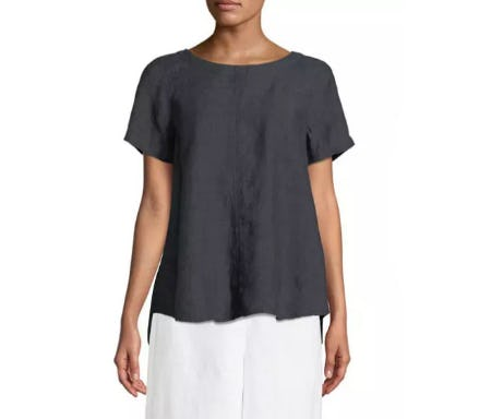 Eileen Fisher Denim Linen Flutter Top from Neiman Marcus