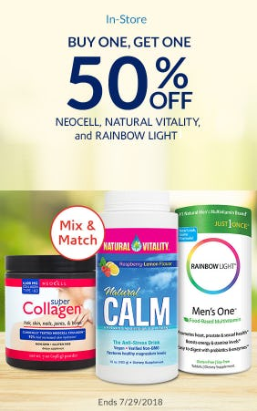 BOGO 50% Off Natural Vitality, NeoCell, and Rainbow Light Products from The Vitamin Shoppe