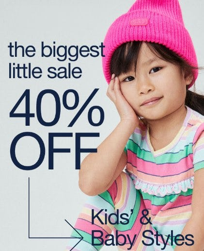 40% Off Kids' & Baby Styles from Gap