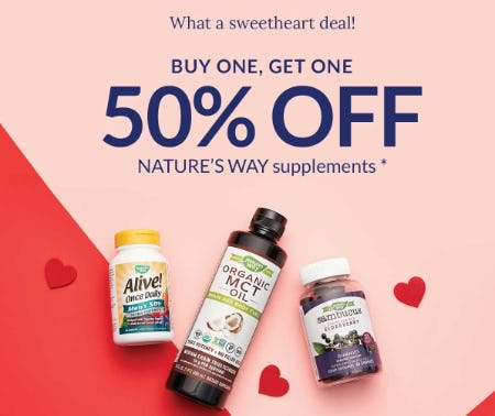 BOGO 50% Off Nature's Way Supplements from The Vitamin Shoppe