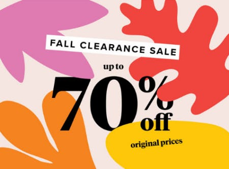 Up to 70% Off Fall Clearance Sale