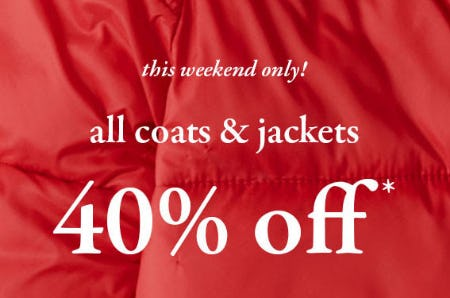 40% Off All Coats & Jackets from abercrombie kids