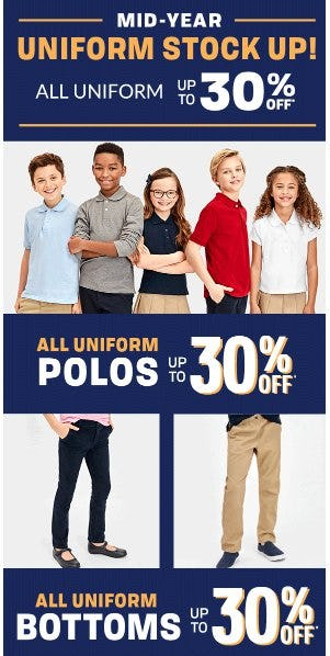 All Uniform up to 30% Off from The Children's Place & Gymboree