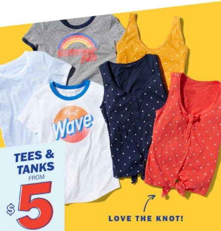 Tees & Tanks from $5 from Old Navy