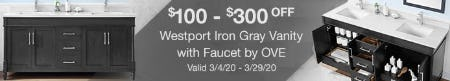 $100-$300 Off on The Westport Iron Gray Vanity with Faucet by OVE from Costco