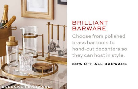 30% Off All Barware from Pottery Barn
