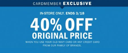 40% Off Original Price from Old Navy