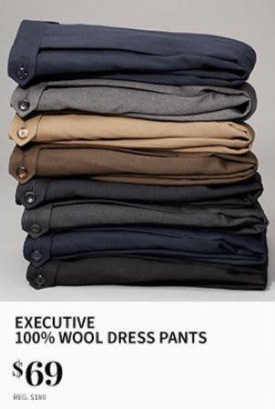 Executive 100% Wool Dress Pants $69