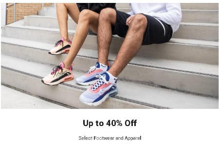 Up to 40% Off Select Footwear and Apparel