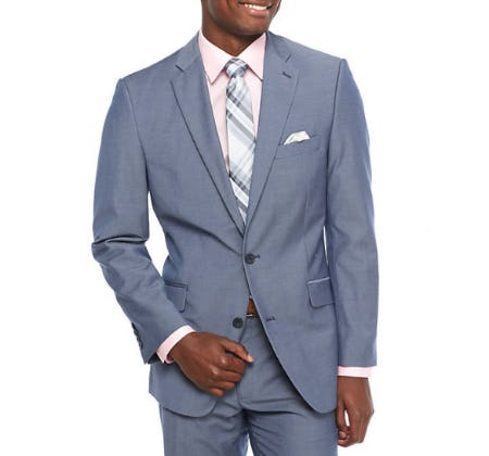 Madison Modern-Fit Blue Chambray Sport Coat from Belk