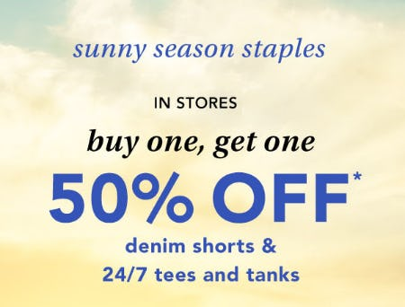 BOGO 50% Off Denim Shorts & 24/7 Tees and Tanks from maurices