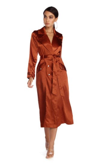 Smooth Talker Satin Trench Coat