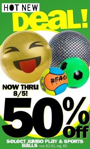 50% Off Select Jumbo Play & Sports Balls