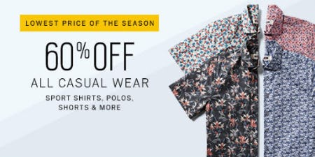 60% Off All Casual Wear from Men's Wearhouse