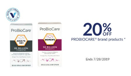 20% Off Probiocare Brand Products from The Vitamin Shoppe