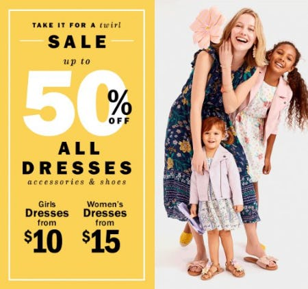 Up to 50% Off All Dresses, Accessories & Shoes from Old Navy