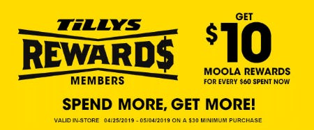 Get $10 Moola Rewards from Tillys