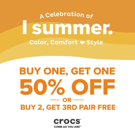 YOUR CHOICE: BOGO 50% OR BUY 2, GET 3RD PAIR FREE! from Crocs