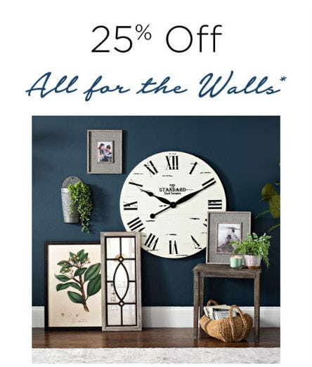 25% Off All For The Walls from Kirkland's Home