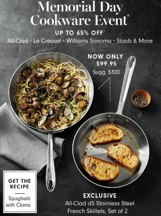 Memorial Cookware Event up to 65% Off