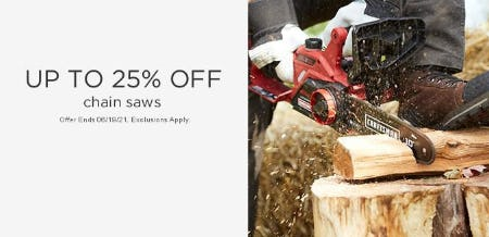 Up to 25% Off Chain Saws from Sears