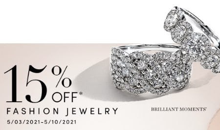 15% Off Fashion Jewelry