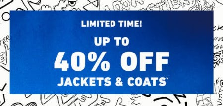 Up to 40% Off Jackets & Coats