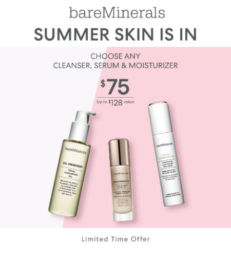 Skincare Bundle @75 (Choose a cleanser, serum and moisturizer) from bareMinerals