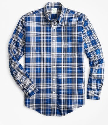 Non-Iron Milano Fit Blue Tartan Sport Shirt from Brooks Brothers