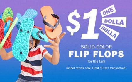 $1 Solid-Color Flip Flops
