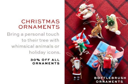 30% Off All Ornaments from Pottery Barn