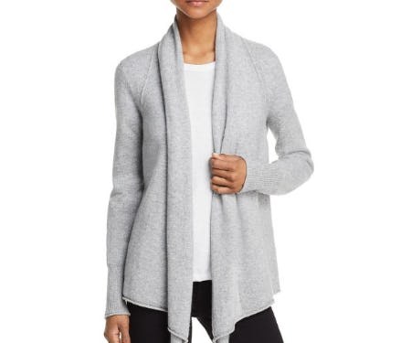Aqua Drape Front Cashmere Cardigan from Bloomingdale's